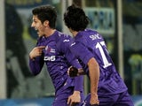 Fiorentina's Stevan Jovetic celebrates after scoring against Inter Milan on February 17, 2013