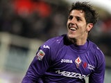 Fiorentina's Stevan Jovetic celebrates after scoring his second goal against Inter Milan on February 17, 2013