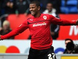 Cardiff's Frazier Campbell celebrates scoring the opener against Bristol City on February 16, 2013