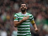 Celtic's Joe Ledley celebrates scoring his team's third against Dundee United on February 16, 2013