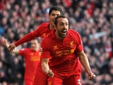 Jose Enrique celebrates after scoring his team's third goal against Swansea on February 17, 2013