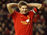 Liverpool captain Steven Gerrard rues a missed chance during his side's match with West Brom on February 11, 2013