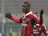 Milan striker Mario Balotelli celebrates a goal against Parma on February 15, 2013