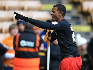 Cardiff forward Frazier Campbell celebrates his goal against Wolves on February 24, 2013