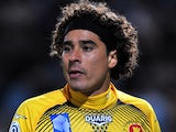 Ajaccio goalie Guillermo Ochoa in action against Marseille on October 22, 2011