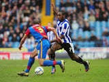 Sheffield Wednesday's Michail Antonio tries to get past Crystal Palace's Ashley Richards on February 23, 2013