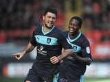 Burnley's Charlie Austin celebrates scoring the first goal against Charlton on March 2, 2013