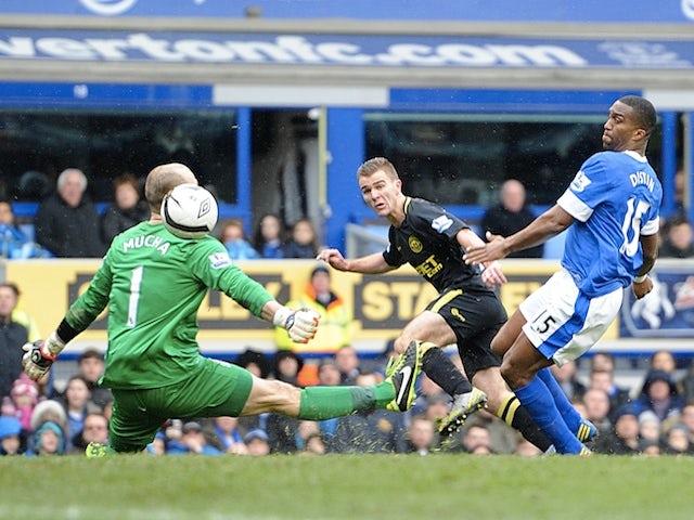 Wigan's Callum McManaman scores the second against Everton on March 9, 2013