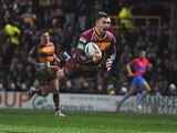 Huddersfield Giants' Danny Brough dives over to score a try during the Super League match against Leeds Rhinos on March 8, 2013