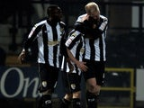 Notts County's Neal Bishop celebrates scoring against Leyton Orient on March 6, 2013