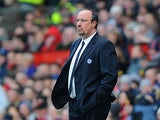 Chelsea boss Rafa Benitez on the touchline during the FA Cup quarter final clash with Manchester United on March 10, 2013