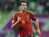 Spain's Sergio Busquets during their match against the Republic of Ireland on June 14, 2012