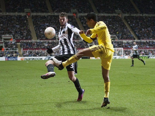 Newcastle's Davide Santon in action against Anzhi Makhachkala on March 14, 2013