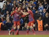 Steaua Bucharest's Vlad Chiriches celebrates equalising against Chelsea on March 14, 2013