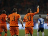 Rafael van der Vaart celebrates after scoring for the Netherlands in their World Cup qualifying match with Estonia on March 22, 2013