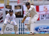 New Zealand's Peter Fulton hits a shot during day one of the Third Test against England on March 22, 2013