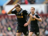 Liverpool captain Steven Gerrard celebrates scoring against Aston Villa during the Premier League clash on March 31, 2013