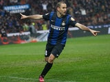 Inter's Rodrigo Palacio celebrates after scoring the equaliser against Juventus on March 30, 2013