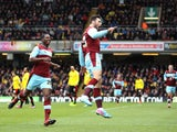 Burnley's Charlie Austin celebrates scoring his first goal in the Championship match against Watford on March 29, 2013