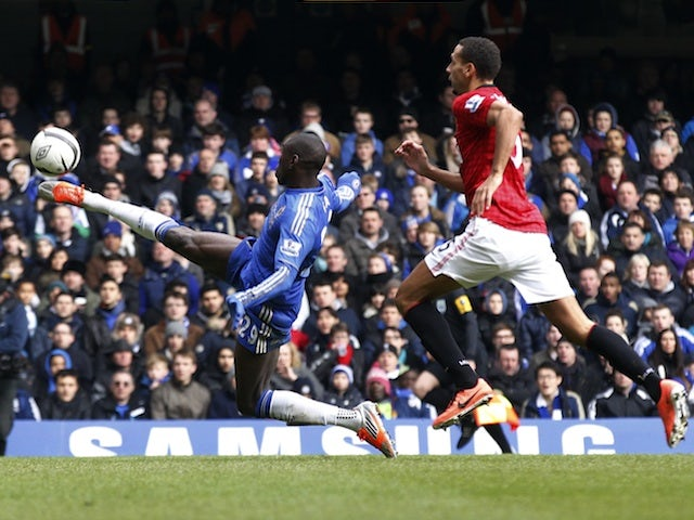 Chelsea striker Demba Ba scores against Man Utd on April 1, 2013