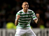 Celtic defender Kelvin Wilson celebrates a win over Barcelona on November 7, 2012