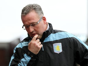 Aston Villa manager Paul Lambert before his side's match against Fulham on April 13, 2013