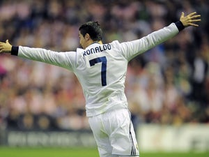 Real Madrid's Cristiano Ronaldo celebrates after scoring against Athletic Bilbao on April 14, 2013