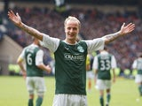 Hibernian's Leigh Griffiths celebrates scoring the winning goal in extra time during the Scottish Cup Semi Final on April 13, 2013