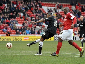Charlton's Ricardo Fuller scores his team's sixth in the match against Barnsley on April 13, 2013