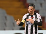 Udinese's Antonio Di Natale celebrates a goal against Lazio on April 20, 2013