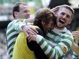 Celtic's Gary Hooper celebrates after scoring against Inverness on April 21, 2013