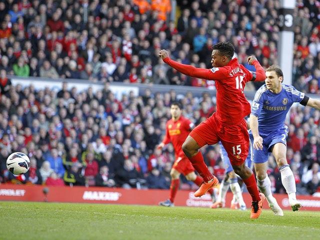 Liverpool's Daniel Sturridge scores in the Premier League clash with Chelsea on April 21, 2013
