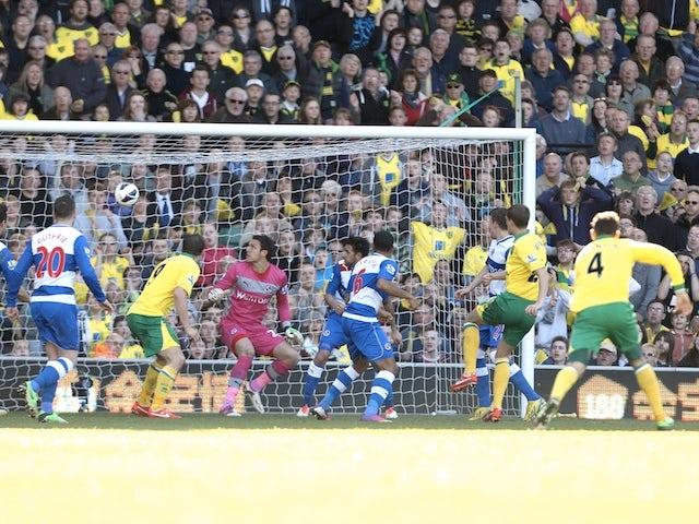 Norwich's Ryan Bennett scores the opener against Reading on April 20, 2013