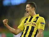 Borussia Dortmund's Robert Lewandowski celebrates scoring against Real Madrid on April 24, 2013