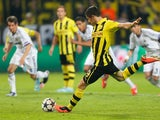 Dortmund's Robert Lewandowski scores from the penalty spot in the Champions League semi final with Real Madrid on April 24, 2013