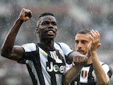 Juve midfielder Paul Pogba celebrates a goal against Torino on April 28, 2013
