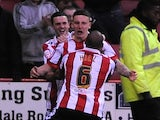 Sheffield United's Callum McFadzean celebrates a goal against Yeovil Town on May 3, 2013
