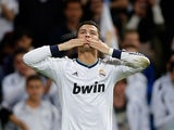 Real's Cristiano Ronaldo celebrates after scoring during the match against Real Valladolid on May 4, 2013