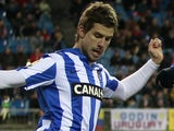 Real Sociedad's Inigo Martinez in action against Atletico Madrid on March 10, 2013
