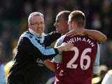 Villa manager Paul Lambert celebrates at the final whistle with Andreas Weimann and Gabby Agbonlahor after beating Norwich on May 4, 2013