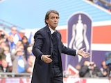 Manchester City manager Roberto Mancini during the FA Cup Final on May 11, 2013