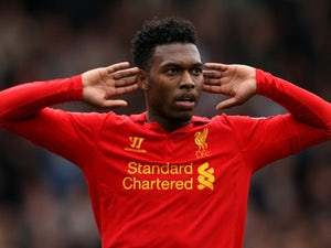 Liverpool's Daniel Sturridge celebrates scoring against Fulham on May 12, 2013