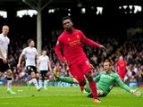 Liverpool's Daniel Sturridge reacts as he scores his second goal in the match against Fulham on May 12, 2013