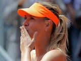 Maria Sharapova celebrates her win over Alexandra Dulgheru in the Madrid Open on May 6, 2013