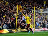 Watford's Matej Vydra celebrates scoring his second goal against Leicester City during the Championship Play Off match on May 12, 2013