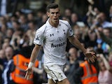 Tottenham Hotspur's Gareth Bale celebrates his goal against Sunderland on May 19, 2013