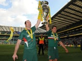 Leicester Tigers' Jordan Crane and Anthony Allen celebrate winning the Aviva Premiership Final on May 25, 2013