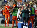 Dutch players celebrate the goal of Georginio Wijnaldum against Germany on June 6, 2013