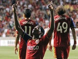 Real Salt Lakes' Olmes Garcia celebrates after scoring against the LA Galaxy on June 8, 2013