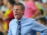 England u21 boss Stuart Pearce shouts from the touchline during a game with Norway on June 8, 2013